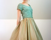 1950's Golden Seafoam Ruched Princess Dress