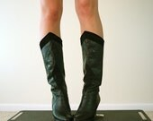 Vintage Leather Boots, Size 6.5 - 7