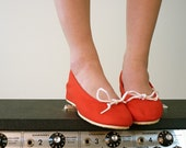 Apple Red Canvas Wedges, Size 6.5 - 7