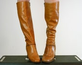 Distressed Leather Boots, Size 5.5 - 6