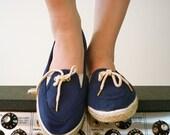 Vintage Canvas Lace Up Shoes, Size 7 - 7.5