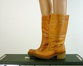 Vintage Rugged Leather Campus Boots, Size 5.5 - 6