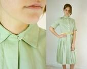 Vintage 1940's Mint Green Shirtdress by Sue Brett