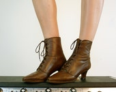 Lace Up Leather Boots, Size 6.5 - 7