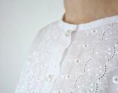 Eyelet Blouse - White Vintage Blouse