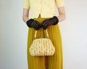 Vintage Knit Skirt - Sweater Skirt in Mustard Yellow