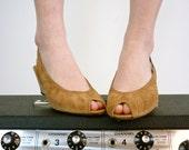 Vintage Slingback Heels - Suede Leather Peeptoe Shoes, Size 7.5 - 8