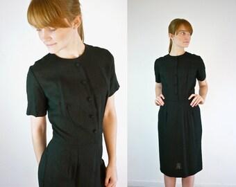 1950s Wiggle Dress • 50s Black Dress • Vintage Black Dress • Wiggle Dress • Sheath Dress • Little Black Dress • LBD • Cocktail Dress