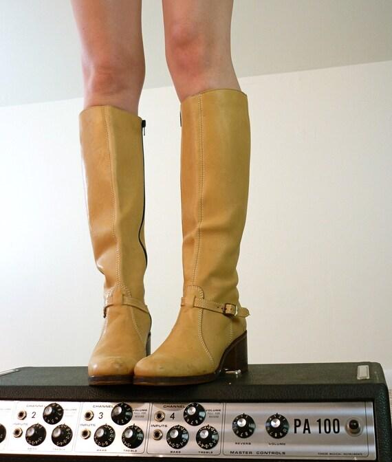 Vintage Butterscotch Leather Boots, Size 7.5 - 8