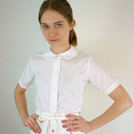 Vintage white peter pan collar blouse for White cotton shirt peter pan collar
