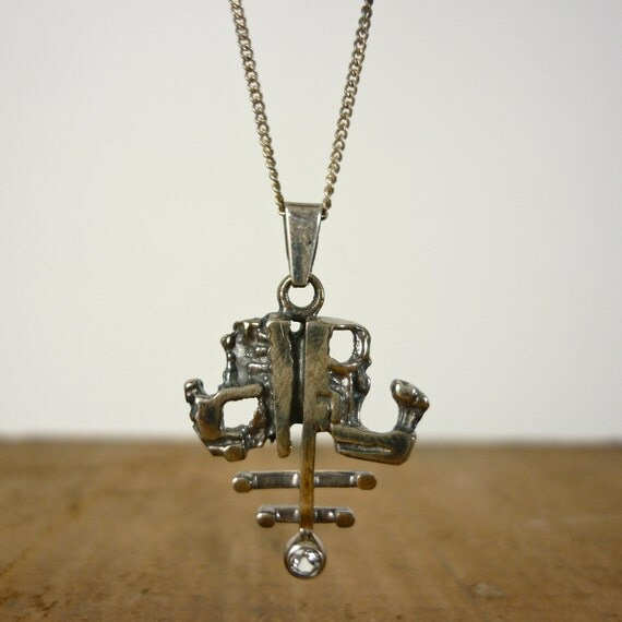 Abstract Pendant - 1960s Sterling Silver Necklace