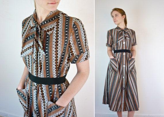 1950s Dress / 50s Midcentury Dress / Plus Size Dress
