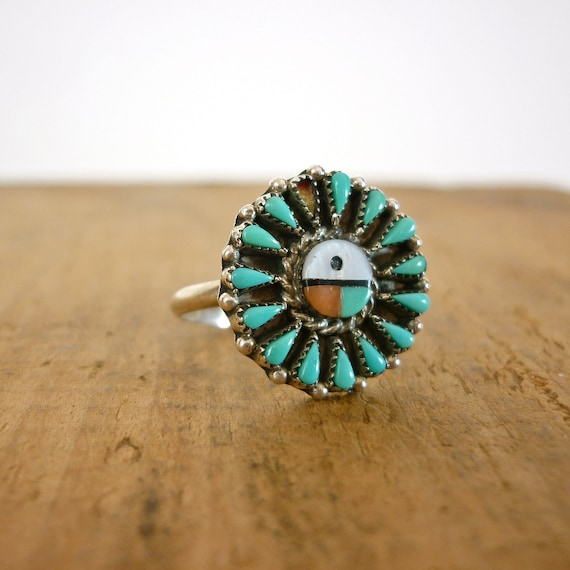 Turquoise Ring - Sun Face Ring - Silver Ring