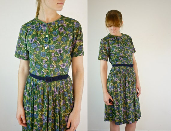 1950s Dress / 50s Garden Party Dress