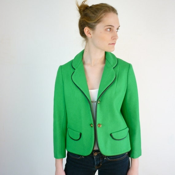 Nautical Blazer - 1960s Blazer in Kelly Green
