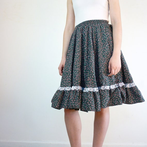 Floral Skirt - Lace Pleated Skirt