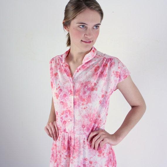 Plus Size Dress - 1970s Accordion Pleated Dress