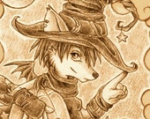 ACEO Magical Halloween Fox Witch- limited edition print