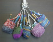 Hand Knit Miniature /Knitting Bag / Key Ring (FREE SHIPPING for one item)