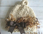 Newborn/Infant Elfin Pixie Beanie/Hat 100% Baby Alpaca  With Squiggle 50/50 Nylon Polyester Accents