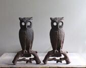 Vintage Boston Owl Andirons