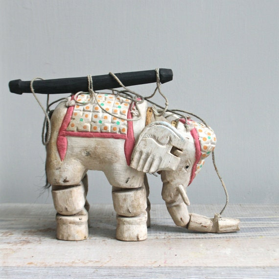 RESERVED   Antique Elephant Marrionette
