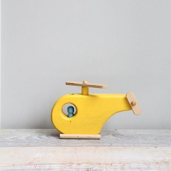 Vintage Handmade Wood Helicopter
