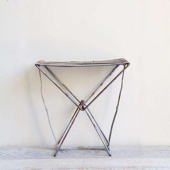Vintage Folding Ticking Striped Camp Stool