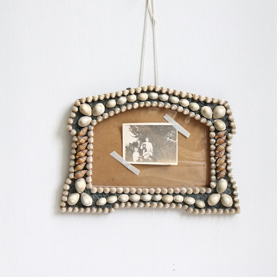 Vintage 1920's Shell and Beach Glass Frame