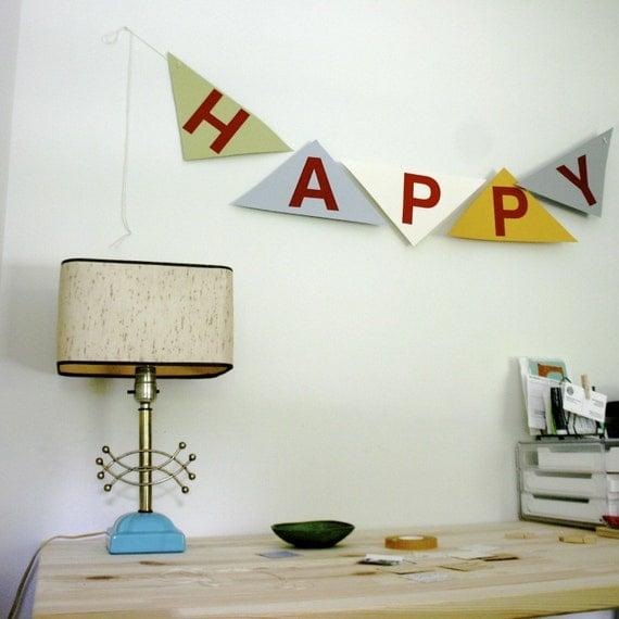 TEN FOR TEN SALE....Handmade Happy (Birthday) Banner\/Bunting....FREE US SHIPPING