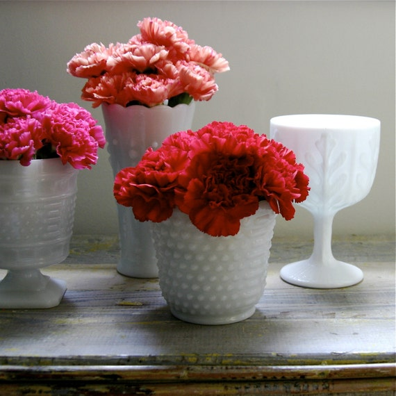 Milk Glass Collection....Oak Leaf Goblet