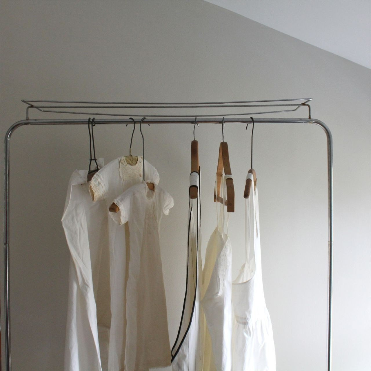 vintage industrial garment rack