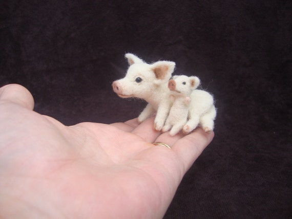 Needle Felted Miniature Pig and Piglet Soft Sculpture OOAK