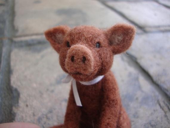 Needle Felted Miniature Red Pig Soft Sculpture OOAK