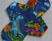 Dinos on Blue  8 in. Cloth Reusable Pantyliner Menstrual Pad