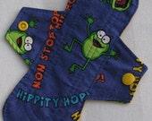 Hip Hop Frogs  8 in. Cloth Reusable Pantyliner Menstrual Pad