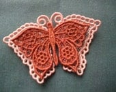 Lace Layered Butterfly Peach Orange