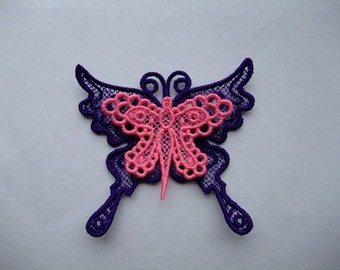 Lace Layer Butterfly Purple Pink