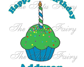 boy blue green first 1st birthday cupcake shirt name age personalized one 12 18