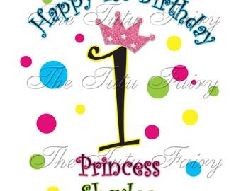 Bright Rainbow Polka dots princess crown birthday shirt t-shirt baby girl 1st 2nd 3rd