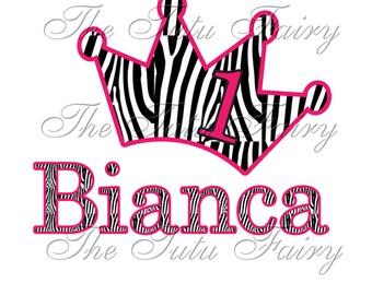 Zebra Birthday princess crown shirt tshirt name age 1st first 2nd 3rd hot pink black white