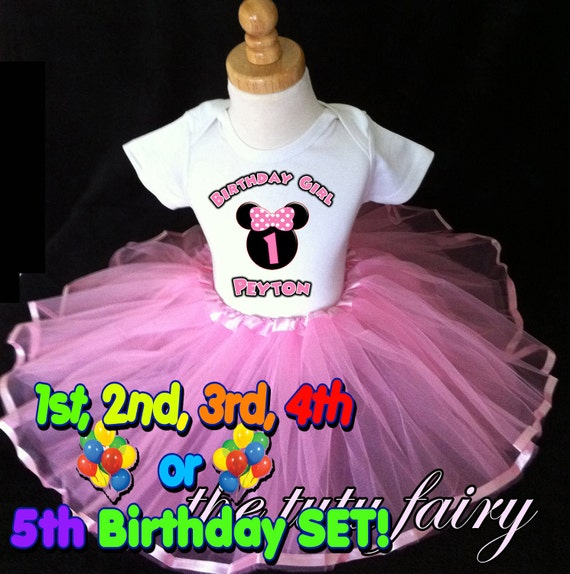 Minnie Mouse Birthday party shirt & Pink tutu outfit set name age t 1st 2nd 3 4