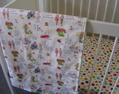 Dick & Jane Cot Quilt and Retro Plane Cot Sheet Set (Custom Listing for rozzie1976)