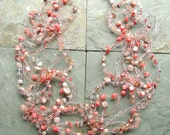 Mermaid's Lei Coral and Shell Wire Crochet Necklace