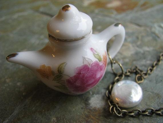 English Garden Tea Pot Necklace