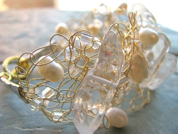 Crocheted Wire Bracelet - quartz crystals and freshwater pearls