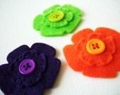 Little Girl Size - Felt Flower Hair Clip - HALLOWEEN COLORS