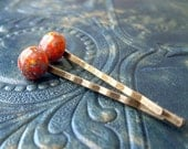 Bobby Pins. Orange Vintage Millefiori Glass with Turquoise and Yellow