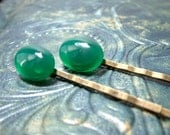 Green Bobby Pins, Agate Gemstone Cabochons on Brass