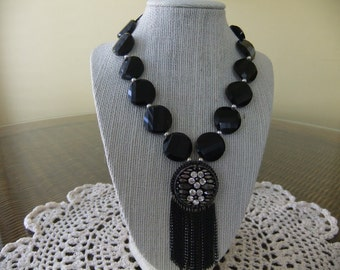 Ladies Victorian Style Black Glass Beaded Necklace with Vintage Earring at Center